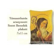 Aranyozott támaszthatós Szent Benedek plakett