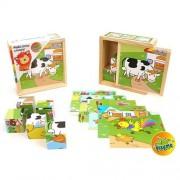 Puzzle cuburi din lemn - animale domestice
