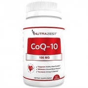 Nutrazest CoQ10 100mg - 100% Pure CoEnzyme Q-10 Benefits Cardiovascular Health Energy and Stamina Muscle Recovery Brain Health & Supports Healthy Blood Pressure - All Natural Formula - 60 Softgels