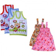 IndiWeaves Baby Girls Cotton Printed Frock and Printed Slips (Pack of 5)