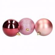 Bellatio Decorations Kerst roze/bordeaux kerstballen mix Sensual Christmas 6 stuks