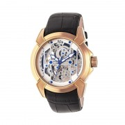 Reign Optimus Automatic Skeleton Leather-Band Watch - Rose Gold/Silver REIRN3805