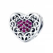 Talisman charm argint 925 KRASSUS Ruby Heart, pentru bratara sau pandantiv lant, model inima