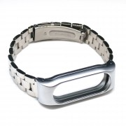 Stainless Steel Double-press Closure Watch Band Strap Replacement for Xiaomi Mi Band 2 - Silver