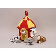Plush Circus Animal House with Animals - Five (5) Stuffed Circus Animals ( Horse Monkey Elephant Lion Tiger) in Play Circus Tent House