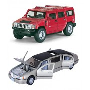 Kinsmart Playking Combo Of 1999 Lincoln Town Car Stretch Limousine And 2008 Hummer H2 SUV 1:40 Scale Model 5 Toy (Color May Vary)