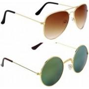 jazz style Round, Aviator, Cat-eye, Over-sized Sunglasses(Brown, Green)