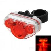 6-Mode 5-LED 10lm luz roja de la bicicleta de la bici - rojo (2 x aaa)