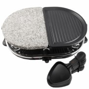 Gratar electric cu piatra si placa grill Princess, 1200 W_Negru/Gri,forma Ovala