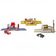 Mattel modellini auto con piattaforma di lancio cars story sets