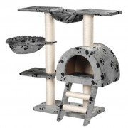 vidaXL Cat Tree 105 cm Grey with Paw Prints 2 Scratching Posts