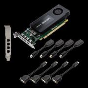VGA PNY VCQK1200DVI-PB, nVidia Quadro K1200, 4GB 128-bit GDDR5, mDP 4x + 4x Adapter DVI-D, 12mj