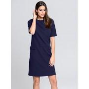 Alba Moda Kleid, Damen, blau, in leicht kastiger Form