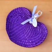 Purple Tropical Buri Straw Fans