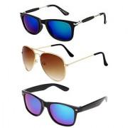 Ivy Vacker Combo of 3 Stylish Mirrored Wayfarer Sunglasses