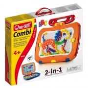 Tablita magnetica cu litere 2 in 1 Quercetti pentru copii, cu piese mozaic si desene magnetice, 360 piese