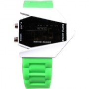 Unisex White Black Dial Green Belt Digital Designer dial Women And Men Watches