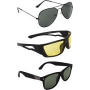 Zyaden Aviator, Wrap-around, Wayfarer Sunglasses(Black, Yellow, Black)