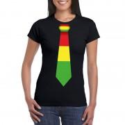 Shoppartners Zwart t-shirt met Limburgse vlag stropdas voor dames