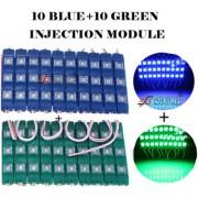 Eshopglee 3 LED DC 12V Waterproof Injection Led Modules Light 5630/5730 SMD - 10+10 Module (Blue+Green) + Free 12v Dc Adaptor