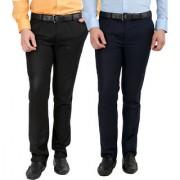 Gwalior Pack Of 2 Slim Fit Formal Trousers (Black Blue)