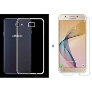 GSB BAZAR Samsung Galaxy J7 Max Transparent Back Cover + Tempered Glass ( Combo Deal) Standard Quality