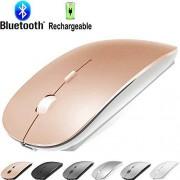 KLO mouse inalámbrico recargable Bluetooth para computadora portátil Mac Pro Air BT Mouse para MacBook Pro, MacBook Air, MacBook, Mac, Windows Laptop/Ordenador portátil/PC, Ratón Bluetooth/oro rosa.