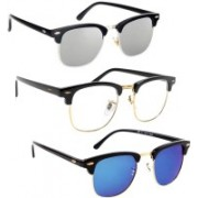 Phenomenal Clubmaster Sunglasses(Blue, Clear, Silver)