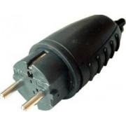 Csatlakozó dugó oldalsó védőérintkezővel, gumi - 16A, 250V, 2P+E, IP44 TICS-012G - Tracon