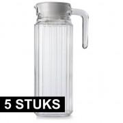 Luminarc 5x Glazen koelkast schenkkannen met dop 1,1 L