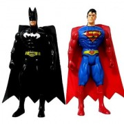 Superman And Batman Figure Figurine Toy with Led Light.(21 cms)