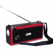 Outdoor Camping Portable Flashlight Wireless Speaker Multi-function Bluetooth Speaker with Shoulder Strap - Red