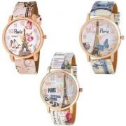 Peris Pink Blue White Combo Latest Best Designing Stylist Analog Women Watch Pack Of 3 Watch