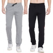 Cliths Pack of 2 Cotton Trackpants For Men/ Stylish Sport lowers for Men (Black Red Black Grey)