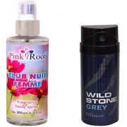 Wild Stone Forest Grey Body Deodorant 150ml and Pink Root Club Nuit Femme Fragrance body Spray 200ml Pack of 2