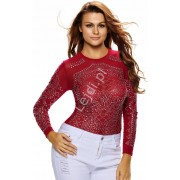 Czerwona bluzka damska z wzorem z kryształków bluzki damskie 893