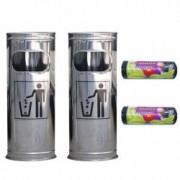 Pachet - 2 x Cos de gunoi Din inox Cu scrumiera 22 cm + 2 x Saci menajeri Pentru pubela 50 buc 60 L