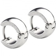2pc Mens Womens Stainless Steel Classic Plain Cambered Huggie Hoop Bali Ear Helix/Lobe/Cartilage Stud Earrings
