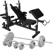 Gorilla Sports Universele Halterbank met 108 kg Halterset Gietijzer - Gorilla Sports