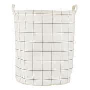 House Doctor Corbeille à linge Squares / Ø 40 x H 50 cm - House Doctor blanc,noir en tissu