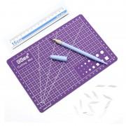 9Sea A5 Cutting Mat Set Cutting Mat & Ruler & Carving Knife(Purple)