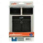 Jupio 2 st batterier motsv. Panasonic DMW-BLF19, inkl. dubbel USB-laddare