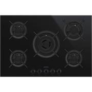 SMEG PV675CNX beépíthető üveg-gáz főzőlap - fekete / inox