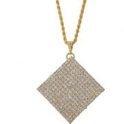 MissMister Gold plated Square Kite shape white American Diamond chain Fashion pendant Women Stylish