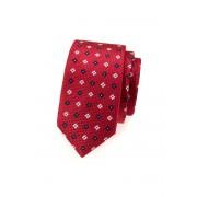 Úzká SLIM kravata červená s kytičkami Avantgard 571-62168