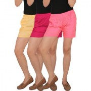 Culture the Dignity Women's Solid Rayon Shorts With Side Pockets Combo of 3 - Cream - Magenta - Baby Pink - C_RSHT_CM1P2 - Pack of 3 - Free Size
