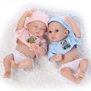 "iCradle 10"" 26cm Mini Lifelike Reborn Baby Twin Doll Vinyl Silicone Full Body Realistic Baby Boy and Sleeping Girl Newborn Twins Dolls Anatomically Correct"