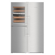 Side by side Liebherr SBSes 8496, 645 L, No Frost, BioFresh, Display electronic, SuperCool, Functie vacanta, Compartiment vinuri, IceMaker, H 185 cm, A+++, Inox