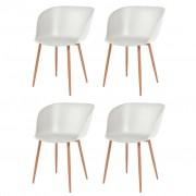 vidaXL Jídelní židle 4 ks bílé plastové sedáky, ocelové nohy