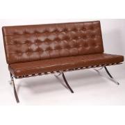 Ludwig Mies vd Rohe 2 zits bank Barcelona Pavillion 2 seat sofa cognac
